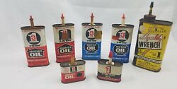 7 Vintage Oil Cans Liquid Wrench 3 In 1 Household And Motor Metal Oil Cans