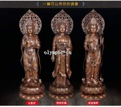 27''Pure red copper Three Saints West Avalokitesvara Amitabha Mahasthamaprapta