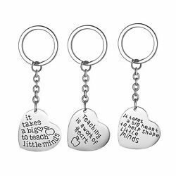 3PCS Heart Pendant Keychain Keyring Jewelry Set Thank you Gift for Teacher