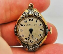 Antique Moser And C 14k Solid Gold And Diamond Pendante Watch