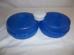 Tupperware 2 Blue Round Sandwich Or Bagel Keepers Plus Smidget Container W/ Seal