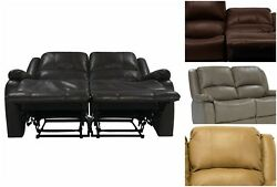 58 Double Recliner Rv Sofa Strong Faux Leather Upholstery Metal Frame Zero Wall