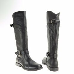 Women's Fry Philip Shoes Black Leather Knee High Harness Boots Size 5.5 M New