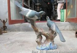 China Royal Family Pure Bronze Cloisonne The Lucky Bird On A Branch Statue