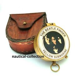 Antique Brass Compass And039and039the Beatle Finderand039and039 With Leather Case
