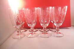 Vintage Duncan Miller Clear Glass Mesa Wheat Set Of 8 Low Water Goblet Glasses