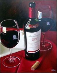 Thomas Stiltz An Elegant Cabernet Red Wine And Glass Giclee Stretched Canvas Hs