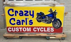 Vintage Crazy Carl's Custom Motorcycle Cycles Double Sided Lighted Sign Harley