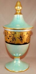 Very Rare Art Deco Noritake Dancing Fairies Decorated Tall Covered Candy Dish