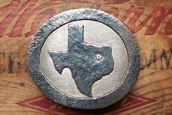 Vintage Hand Made Sterling Silver Texas Map Cowboy Western Belt Buckle