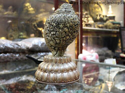 Tibet Buddhism Trumpet Shell Silver Carved Elephant God Of Wealth Shell Conch