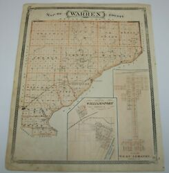 Antique 1876 Indiana Map Elston Boswell Oxford Stockwell Fowler Williamsport