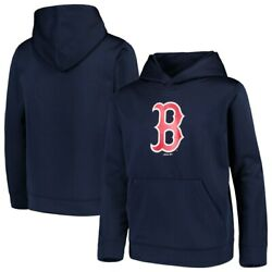Youth Boston Red Sox Majestic Navy Blue Twill Fleece Pullover Hoodie