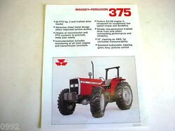 Massey Ferguson 375 2wd And 4wd Farm Tractor Spec Sheet 1989 2 Page Very Good