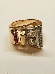 Extremely Rare Art Deco Large Vvs G Diamond And Ruby 14k Rose Gold Ring