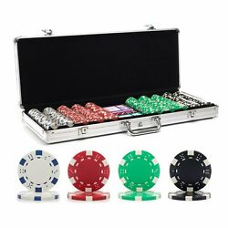 500ct Dice Poker Chip Set And 48 Octagonal Pm Table Top And Free Card Shuffler
