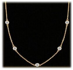 1.37 Carat Round Diamonds By The Yard 18k Yellowgold Necklace 9 X 0.15 Ct Vs/si1
