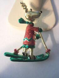 Vintage Ajc Christmas Colorful Reindeer Pin With Glitter