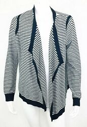 LOFT Womens Striped Open Front Cardigan Size Large Navy White