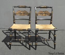 Vintage Pair Of L. Hitchcock Federal Black Eagle Chairs With Rye Seats