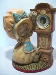 Vintage Ceramic Bonnet Girl And Cat W/ Grandfather Wind-up Clock German Made