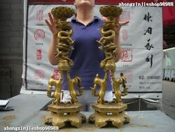 Huge Chinese Pure Brass Dragon Play Foo Dog Lion Candle Holders Candlestick Pair
