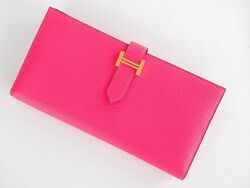 Authentic New Hermes Bearn H Wallet Rose Lipstick Pink Leather Ghw Cherve Bifold