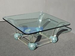 Vintage Mid Century Modern Coffee Table Lucite Sabre Legs And Turquoise Ball Feet