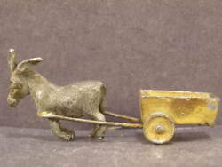 Antique Victorian 19c Hand Painted Donkey And Cart Horse Wagon Lead Push Penny Toy
