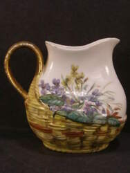 1880s Haviland Limoge French Porcelain Hand Painted Raised Relief Pitcher Petrea