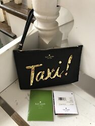 Kate Spade New York TAXI On Purpose leather wristlet Clutch Bag Black NWT NEW $86.00