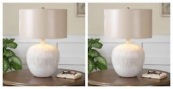 Pair Georgios Aged Textured Ivory Fire Glazed Ceramic Table Lamps Uttermost