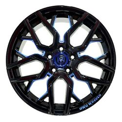 4 GWG NIGMA 18 inch Black Blue Mill Rims fits CHEVY IMPALA 2000 - 2013
