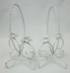 Pair Of Vintage White Metal Wire Shabby Cottage Chic Wedding Candleholders