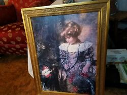 Vintage Portrait Of A Young Girl Holding A Flower Hat Oil On Canvas Painting