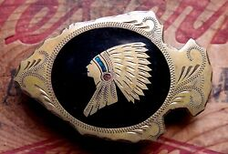 Vtg Johnson Held Indian Chief Turquoise Coral Arrowhead Western Belt Buckle