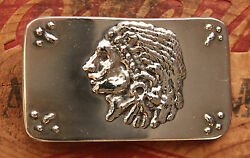 Vtg Stainless Steel Hand Made Native American Chief Western Belt Buckle Indian