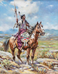 Charles Chas Sultan Sioux Sentinel Oil Painting, Western, South West, Southwest