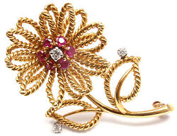 Rare Vintage Authentic And Co 14k Yellow Gold Diamond Ruby Flower Brooch