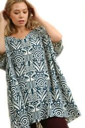 Umgee Oversized Graphic Tribal Print V-neck Top 1/2 Sleeves