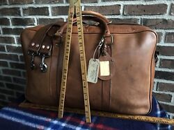 Vintage 1970and039s British Tan Distressed Thick Leather Weekender Duffel Bag R1598