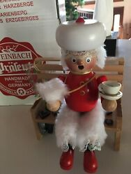 Steinbach Mrs. Claus Sitting On Bench Musical German Incense Smoker Signed