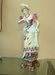 Beautiful Antique Hand Painted German Porcelain Statue Of Woman Made In 1902