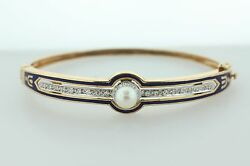 Estate 14k Yellow Gold Diamond And Pearl With Blue Enamel Inlay Hinged Bangle - 7