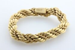 Tiffany & Co Solid 18K 750 Gold 11mm Braided Twisted Rope Wrap Chain Bracelet-8