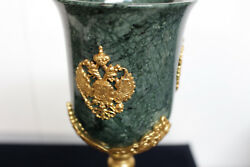 Gold 24k Plated Antique Malachite Empire Style Cups Handcrafted In Russia