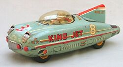Vintage Large King Jet 8 Tin Friction Toy Space Vehicle -- Made In Japan