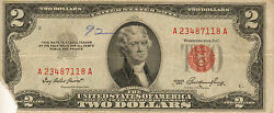 1953 2 United States Note Red Seal Circulated Medium To High Grade Z-182