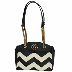 Brand New Gg Marmont Black And White Leather Chain Shoulder Bag 443501