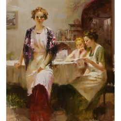 Pino Giclee Canvas S/ Distant Thoughts Women In Aprons At Table Coa 40x36